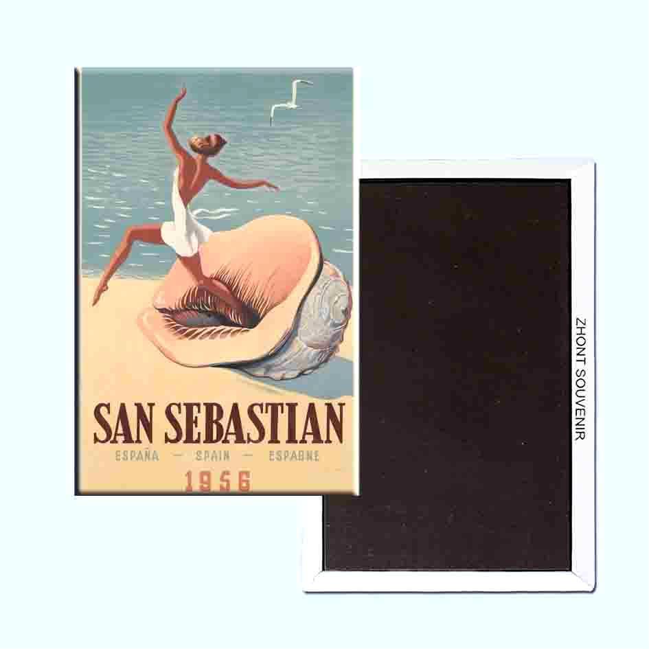 Imán de Nevera de San Sebastián (1 Ud.) RETRO/VINTAGE SOUVENIRS Frigo Imanes